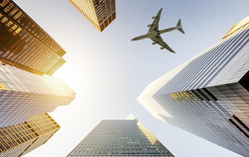 Avion et buildings